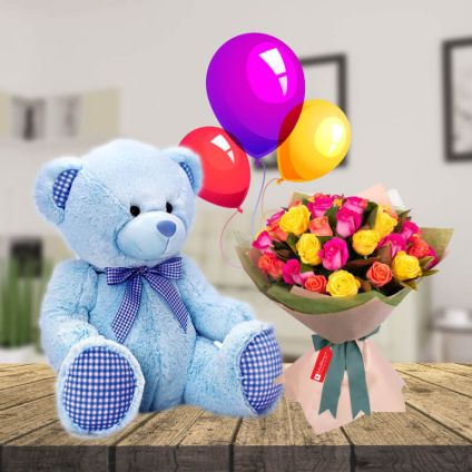 12 Mix Roses,6 pcs Happy Valentine day Balloons and 6 inch Teddy Bear