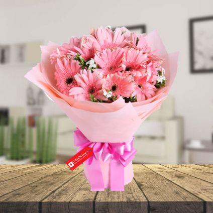 Pink Gerbera & 2 layer bamboo with vase
