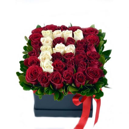 Personalized White and Red Roses Floral Arrangement