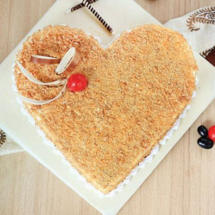 Heart Shape Butterscotch Cake