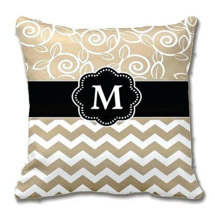 Black White monogram cushion