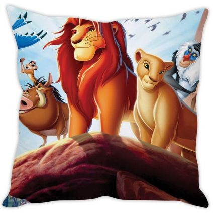 Lion King Blue Silk Cushion