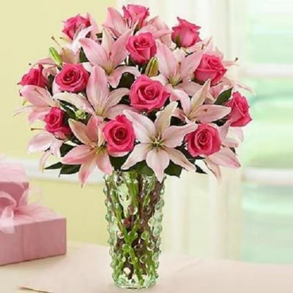 Pink Mixed Flowers In Vase