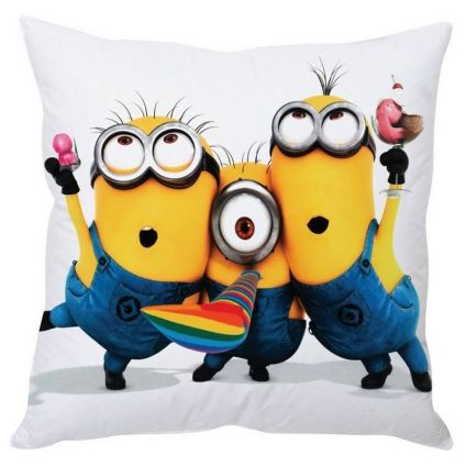Starbuzz Posing Minions Yellow Silk Cushion Cover with fillers