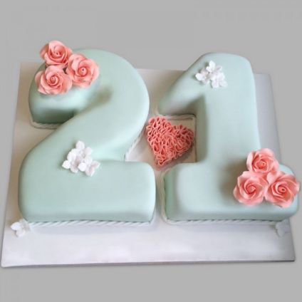 Pink Roses Fondant Cake