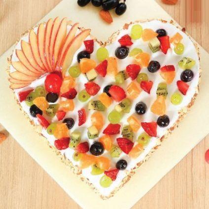 Butterscoth Heart Shape Fruits Cake