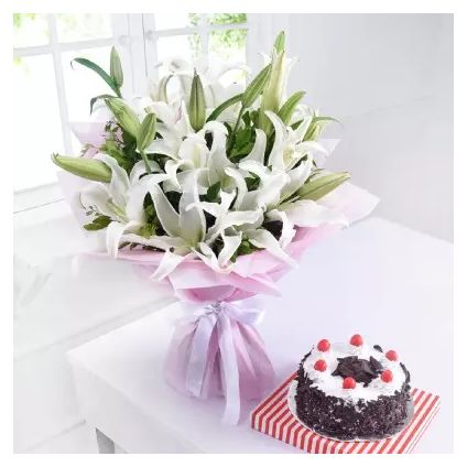 White Lilies With Cake