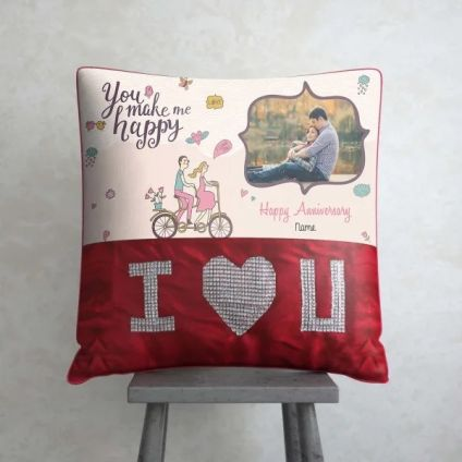 You make me Happy Personalized Anniversary ILU Cushion