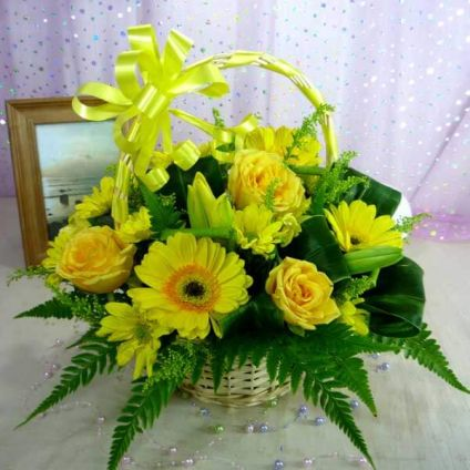 Basket of yellow flowers