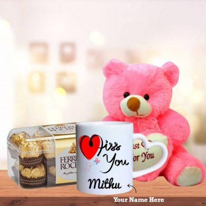 I Miss U Mugs with Teddy and 16 Pcs Ferrero Rocher