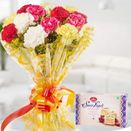 Red and white Carnation and Soan Papdi