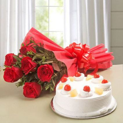 Red Roses with Pineapple Cake