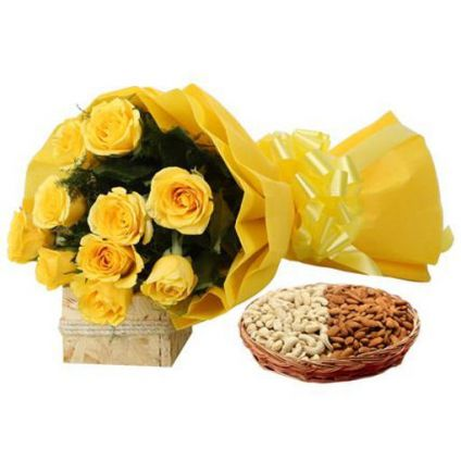 Yellow Roses with almond and cashew