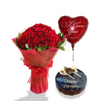 A Bunch of 50 Red roses, 1 Kg Chocolate cake and 1 heart shape balloon