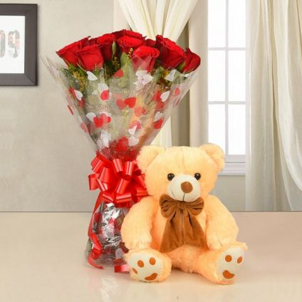 30 Red Roses (12-inch) Teddy Bear