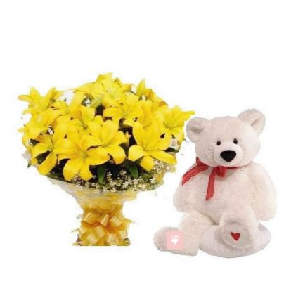 A bunch of 10 yellow lilies and (6 inches)cute teddy bear