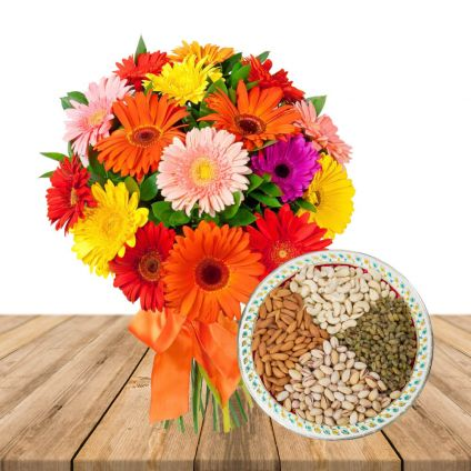 Mixed Gerberas with Mixed Dry Fruits