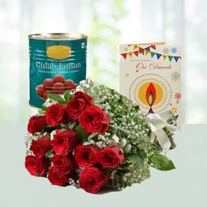 Red Roses, Greeting card With Gulab Jamun