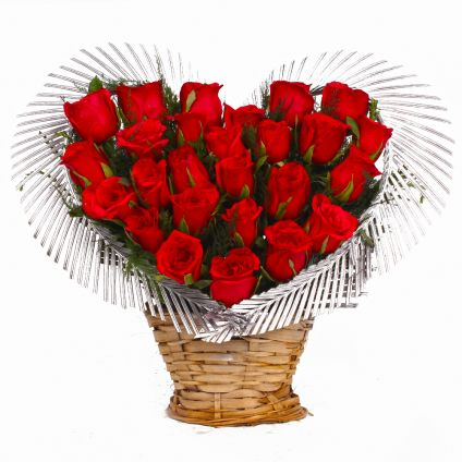 Basket of heart shape roses