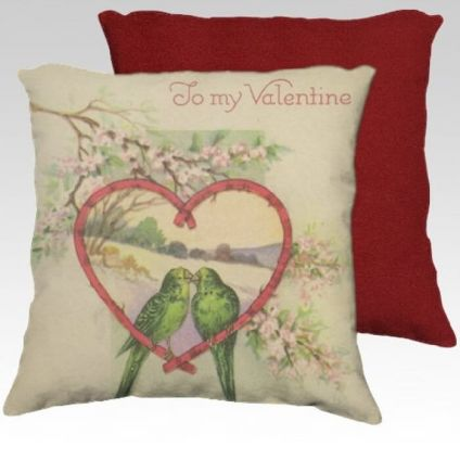 Pillow Cover Two Love Birds in Heart