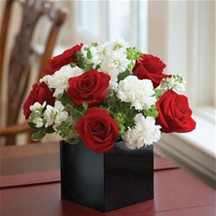 Roses And Carnation In Box