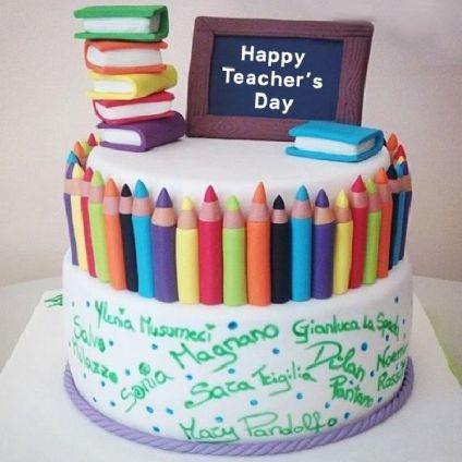 Teachers Day Vanilla Cake