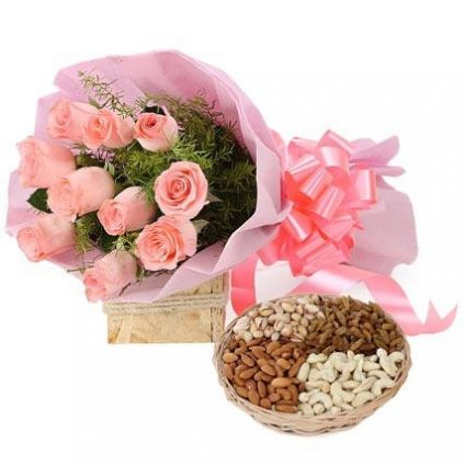 Pink Roses with Dry Fruits in Basket