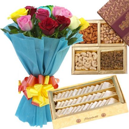 Mixed Roses, Dry Fruits and Mixed Sweets