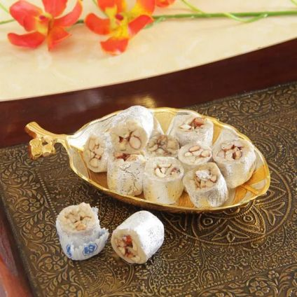 Kanha 250g Kaju Honey Dew With Silver & Gold Plated Serving Tray