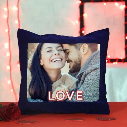 Blue sattin personalized pillow