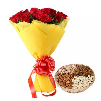Red Roses With Mixed Dry Fruits With Basket