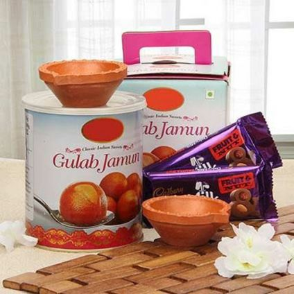 Gulab Jamun Box, Chocolates and Diyas
