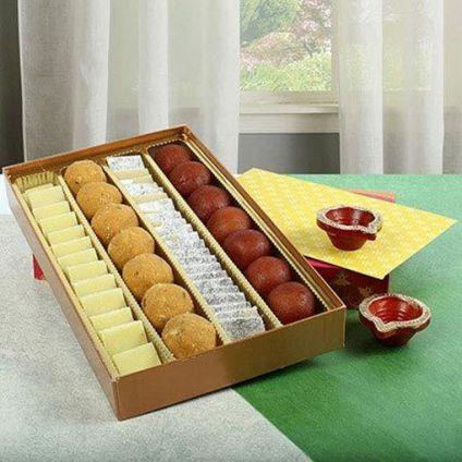 Mixed Sweets With Diya
