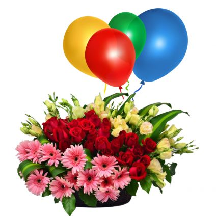 Basket of 20 mixed gerberas with 10 Balloons
