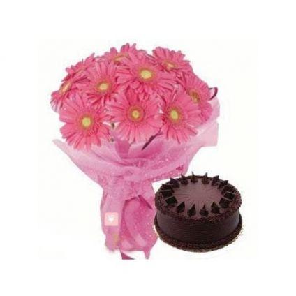 Pink Gerbera and chocolate cake