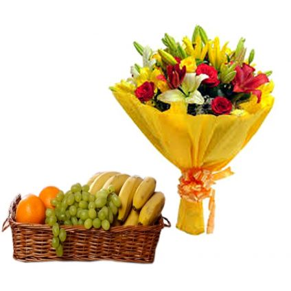 Mixed Flowers With Fruits