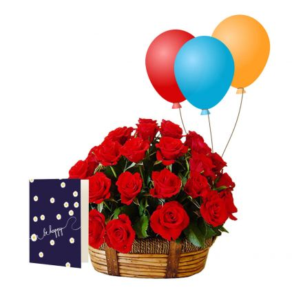 Basket of 20 Roses with 10 Balloons and greeting card