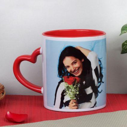Valentine personalized heart handle mug