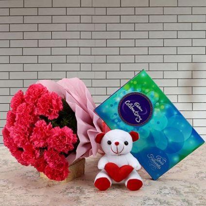 10 Red Carnation,Teddy Bear, Dairy milk