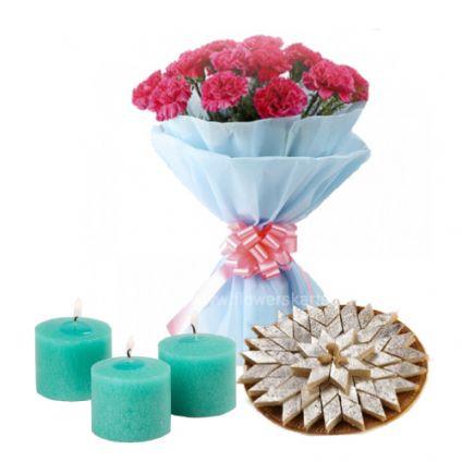 Carnation With kaju Katli and Diya
