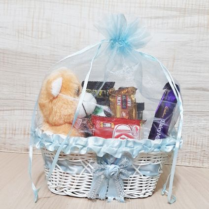 Basket of Mixed Chocolates With Teddy