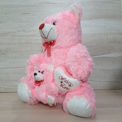 Pink Teddy bear with Little baby and heart