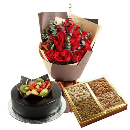 Red Roses, Mixed Dry fruits and chocolate fruits cake