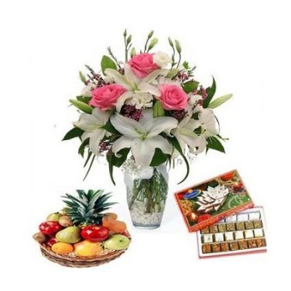 Bunch of 3 Pink roses, 3 White roses and 3 White Lily flowers, 2 Kg Mixed fruit basket and 1 Kg Mix