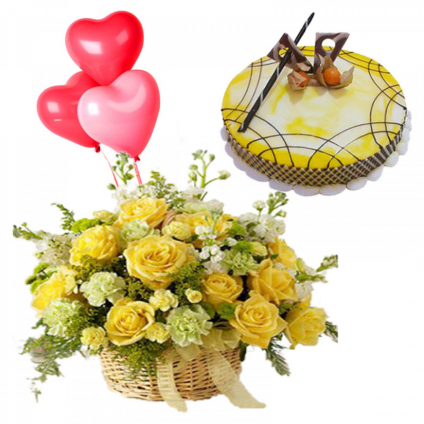 basket of 12 yellow rose, 5 heart shaped balloons with 1 kg pineapple cake