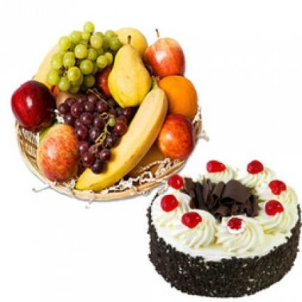 Mixed Fruits With Black Forest Cake