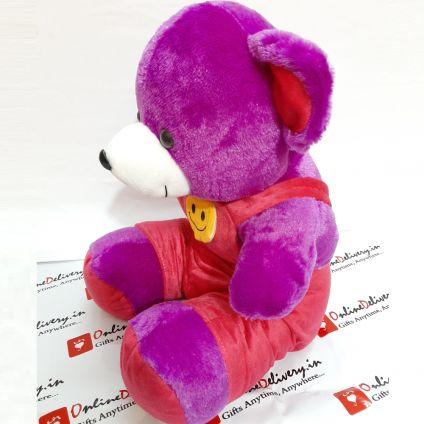 Purple Teddy Bear with Smile