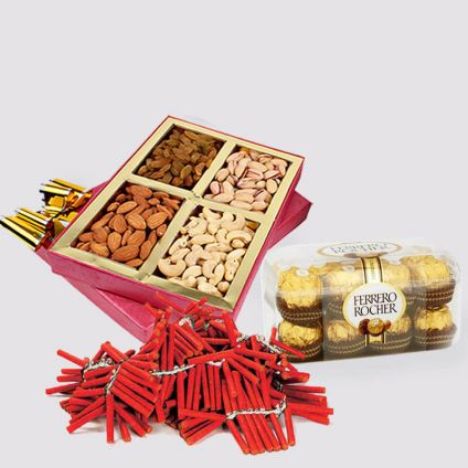 Ferrero Rocher With Dry Fruits and Crackers Combo
