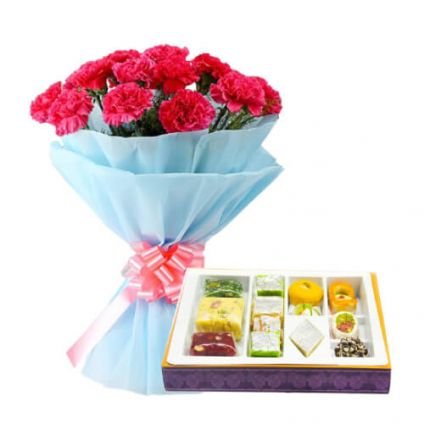 Bunch of Red Carnation and 1/2 Kg Mixed Sweets