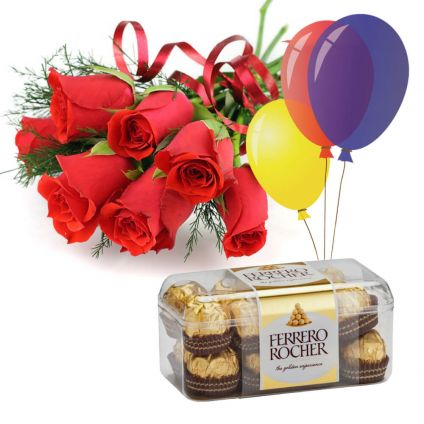 10 Red Roses,16 pcs Ferrero Rocher and 10 Ballons